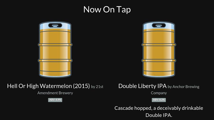 The Taplist.io menu display